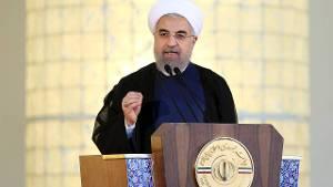 De Iraanse president Hassan Rouhani tijdens de persconferentie over het nucleaire akkoord