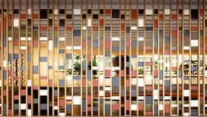 Kunstenaar Athos Bulcão maakte in 1967 in het Itamaraty Paleis een scheidingswand met staal en hout.